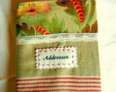 Address Book French Cover Handmade with Antique Fabrics Office Decor Charming Gift Practical and Nice besides the telephone