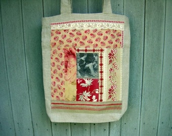 Bags and Purses, Totes, Handmade, Linen , Vintage and Lace, Deco 1920, for Shopping, College, Library, Shabby Chic, Christmas gift, OOAK