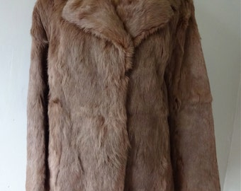 Rabbit Fur Coat Brown Robe Style Vintage Women's Luxury Winter Outerwear
