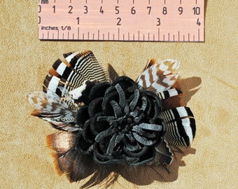 FLR011 Leather Flower & Feathers Pin/Alligator Clip Back, FREE US SHIPPING