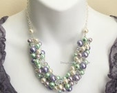 Ivory, Mint and Purple Necklace, Cluster Necklace, Bridesmaids Necklace, Maid of Honor Necklace, Wedding 2016, Mint and Purple Wedding