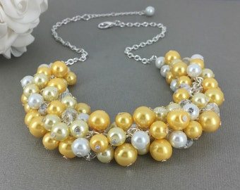 Shades of Yellow Necklace, Yellow Necklace, Bridesmaids Gift, Bridesmaids Necklace, Yellow and White Necklace, Pearl Beaded Necklace