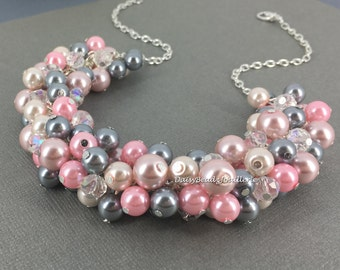 Grey and Pink Necklace, Cluster Pearl Necklace, Bridesmaid Jewelry, Maid of Honor Gift, Gray and Pink Wedding, Custom Made Jewelry