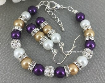 Purple and Gold (Champagne) Bracelet, Bridesmaid Bracelet, Bridesmaids Gifts, Pearl Bracelet, Wedding 2016