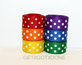 "5/8"" (16mm) Primary Colors Grosgrain Polka Dot Ribbon Lot (Choose 3 or 5 yards EACH of 6 colors)"