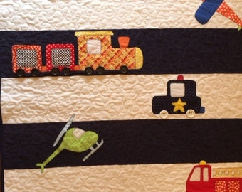 Cars, Trains, Planes and More Baby Quilt