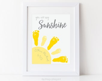 You Are My Sunshine Wall Art Print, Baby Footprint Sun, Gray & Yellow Nursery Decor, Your Child's Feet, 8x10 or 11x14 inches UNFRAMED