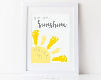 You Are My Sunshine Art New Baby Gift, Footprint Custom Nursery Decor, Personalized with Your Child's Feet, 8x10 0r 11x14 in UNFRAMED