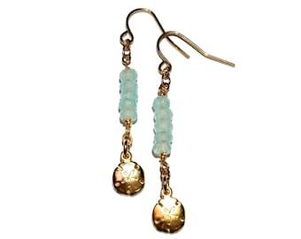 Chalcedony Quartz Earrings, Gold Earring, Dainty Earring, Long Earring
