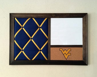 WVU West Virginia French Memo Board, Magnetic Whiteboard, Cork Board Bulletin Board Dorm Decor Wall Organizer