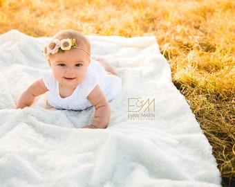 Cream Flower Crown - Fall Newborn Flower Crown - Baby Felt Flower Crown - Felt Flower Headband - Newborn, Baby, Toddler Photo Prop