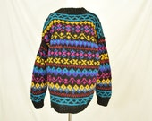 80s Funky Multicolored Fair Isle Sweater Thick Knit Chunky Pullover Wool Unisex Large Hippie Boho Australian