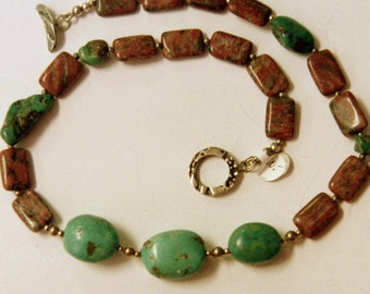 Turquoise and red sesame jasper necklace