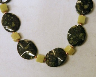 Chunky oolytic jasper and olive jade necklace.