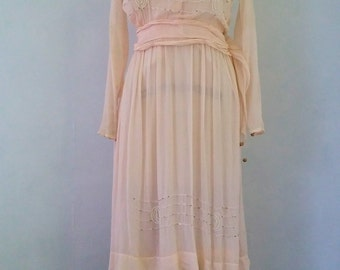 1920s sweetpea pink crepe day dress | vintage 1920s day dress | small | The Alice Dress