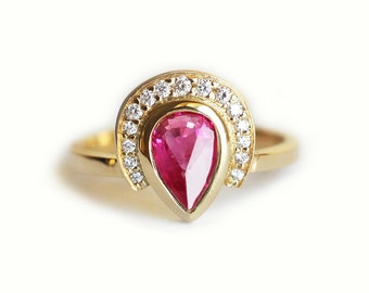 Ruby Ring, Ruby Engagement Ring, Ruby Diamond Ring, Pear Ruby Ring With Diamond Crown, 18k Gold