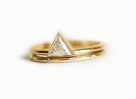 Trillion Diamond Wedding Set With Dainty Diamond By Minimalvs