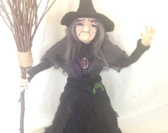 Pendle Witch. Needle Felted Witch, Wicca Fiber Art Doll. Witchcraft, Forest Folk, Pagan Art. OOAK. 24 Inches.