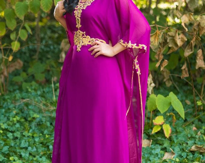 "Yara Yosif ""Jaleela"" magenta kaftan with gold embroidery caftan dress abaya"