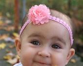 RTS 0-6 mos NB Newborn baby girl infant tie back halo headband flower headband hippie flower child shower gift photography prop