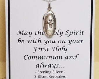 Sterling Silver Cross Locket First Communion Gift for Goddaughter