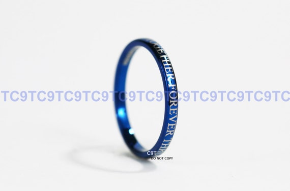 blue or silver doctor who inspired 2mm tungsten promise ring