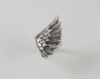 Right Wing Ring Sterling Silver Ring Angel Feather Jewelry