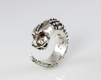 Handmade Sterling Silver Dragon Wrap Ring with Red Sapphire Eyes
