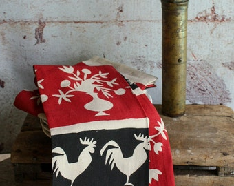 French Rooster Cotton Flour Sack Tea Towel  Eco Friendly