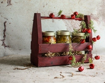 Florida  Holiday Artisan Sampler Rustic Wooden Gift Crate Featuring your choice of Three Jars of Assorted Pickles and Jam
