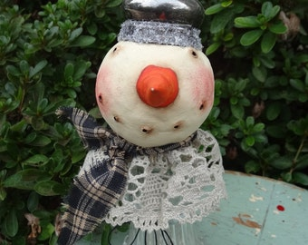 Paper Clay Snowgal on Large Glass Shaker