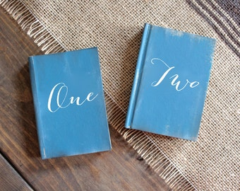 Calligraphy Wedding Table Number Books, Themed Table Numbers, Rustic Vintage Weddings