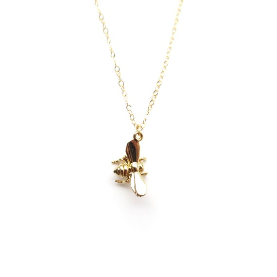 Tiny Bee Necklace, Gold Bee Pendant, Bumble Bee Jewelry, Dainty Gold Necklace, Delicate Gold, 14k Gold Filled Chain, Dainty Necklace