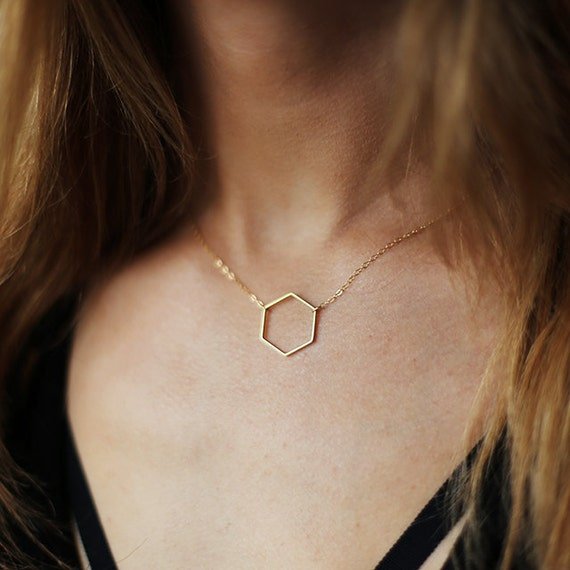 Gold Hexagon Necklace, Gold Honeycomb Necklace, Gold Geometric Necklace, Dainty Gold Necklace, Delicate Gold Filled Chain, 14k Gold