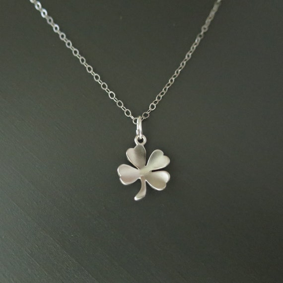 Silver Clover Necklace, Silver Four Leaf Clover, Sterling Silver Necklace, Clover Jewelry, Delicate Clover, Dainty Clover, Small Clover