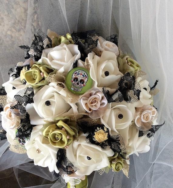 Halloween Wedding Bouquets: Skull Wedding Bouquet-Bridal Bouquet-Brides By