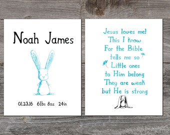 Personalized Nursery Print. Jesus Loves Me print, Baby boy nursery. Newborn Playroom art. Nursery Wall Art, Baptism gift. Nursery decor.