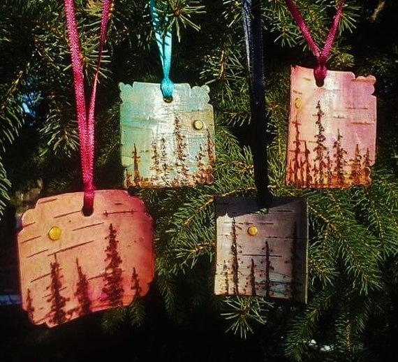 Making Natural Christmas Decorations: Items Similar To Boreal Moonscape Ornaments- Birch Bark On