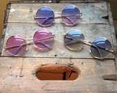 15% Off Ombre Rainbow Round Sunglasses Vintage Circle Hippie Glasses - Janis