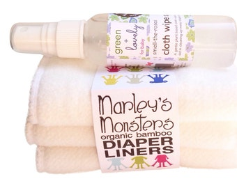 Smell the Roses Cloth Wipe Spray PLUS 3 Organic Bamboo Cloth Diaper Liners. Cloth Diapering must haves  Gift set. Ecofriendly.