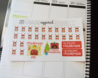 Christmas Countdown Stickers, Christmas Stickers, planner stickers for Erin Condren Life Planner, Happy Planner, and more!
