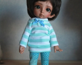 Mint and white striped sweater set for Pukifee or similar sized dolls