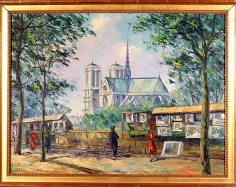 Superb ca.1945 Paris Notre Dame Cathedral Painting Oil/Canvas w/Frame Signed