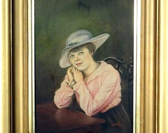 Rare ca.1918 Young Lady with Hat Portrait Painting Oil/Canvas/Frame Signed