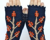 Knitted Fingerless Gloves, Dark Blue, Orange, Beige, Trees, Clothing And Accessories, Accessories, Gloves & Mittens,Gift Ideas,READY TO SHIP
