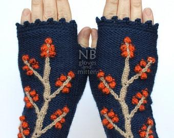 Knitted Fingerless Gloves, Dark Blue, Orange, Beige, Trees, Clothing And Accessories, Accessories, Gloves & Mittens,Gift Ideas