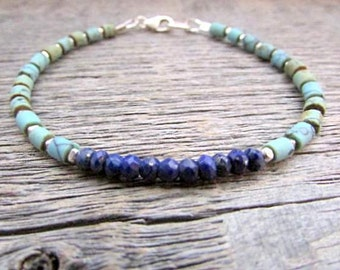 Lapis Turquoise Bracelet, Turquoise Silver Bracelet, Lapis Bracelet, Chakra Bracelet, Stack Bracelet, December Birthstone Bracelet