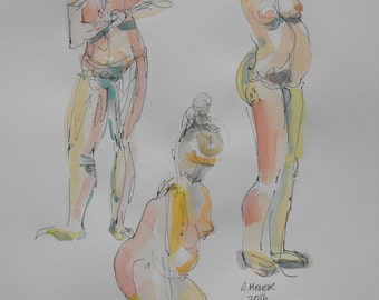 Original figure study, 3 gestures, pen and ink, watercolour washes on paper, from live female model, 11 X 14, Figure 73