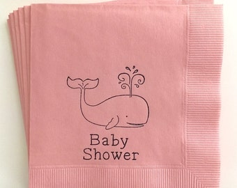 Whale Nautical Baby Shower Cocktail Napkins, Set of 50