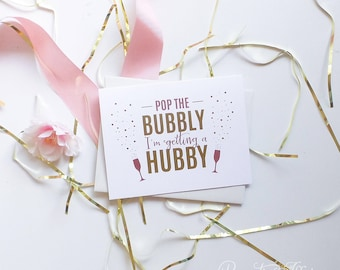 Cute Will You Be My Bridesmaid Cards - Bridesmaid Proposal - Be My Maid of Honor - Pop The Bubbly I'm Getting a Hubby - Pink and Gold Foil